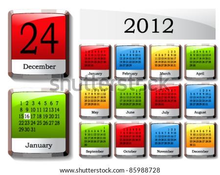 Vector glossy calendar - stock vector