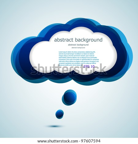 Vector glossy computer cloud. bubble speech. Easy to edit. Eps10 - stock vector