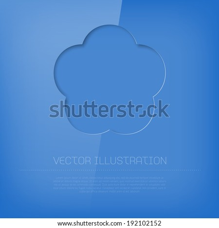 Vector glossy cut out blue flower icon