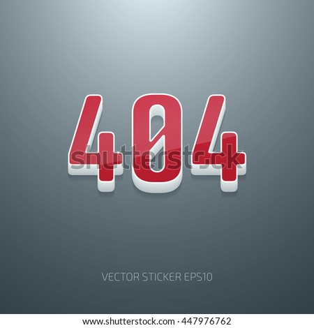Vector glossy 3d 404 error sign. White and red plastic - stock vector