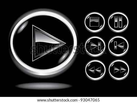 Vector glossy 3d glass player buttons set. Vector web 3d icons collection. - stock vector