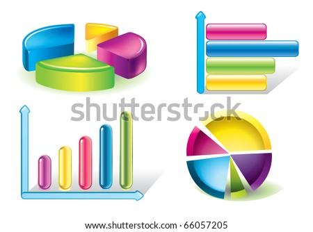 Vector glossy diagram and pie charts - stock vector