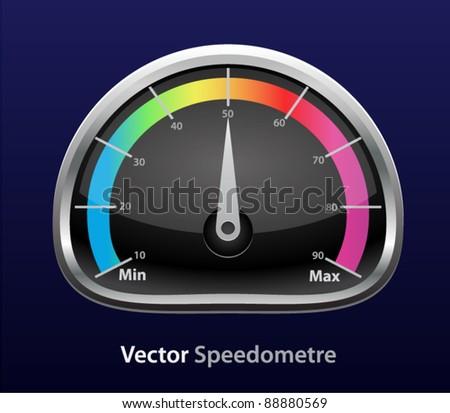 Vector glossy download speedometer - stock vector