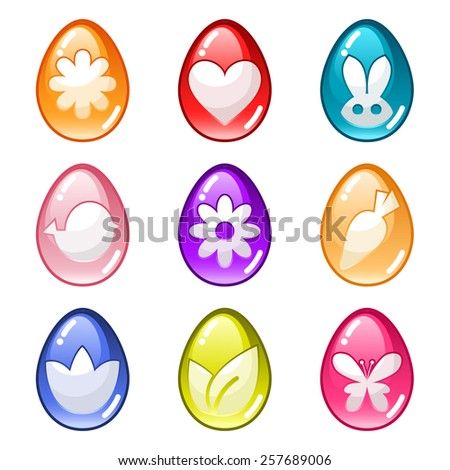 Vector glossy Easter egg set - stock vector