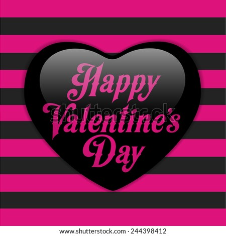 Vector - Glossy Emo Heart. Pink and Black Stripes - stock vector