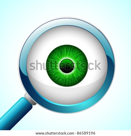 Vector Glossy Eyeball with a Magnifier - stock vector