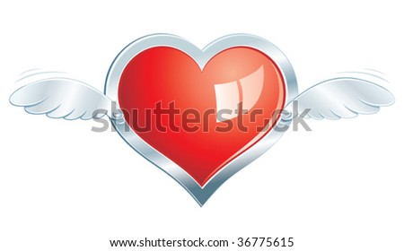 Vector glossy heart with chrome frame and wings.