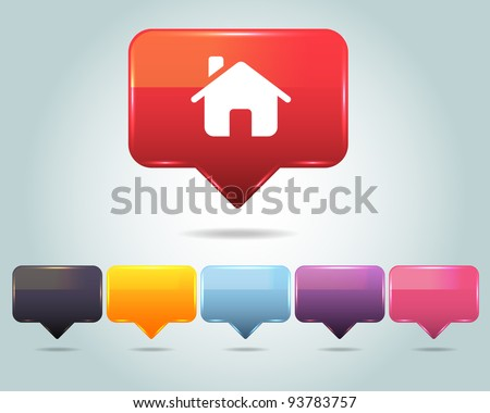 Vector Glossy home icon and multicolored - stock vector