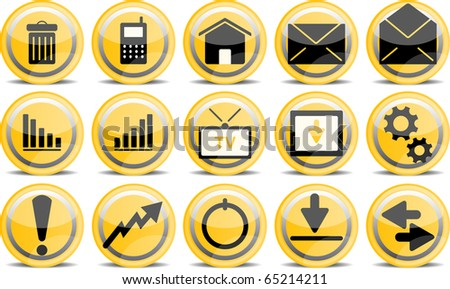 Vector glossy icon set for web applications - stock vector