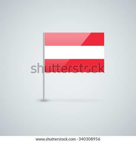 Vector glossy icon with Austrian flag. Correct proportions and color scheme. - stock vector
