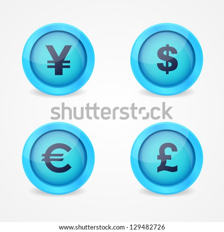 Vector glossy icons with currency signs - stock vector