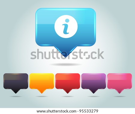 Vector Glossy Info Icon/Button and multicolored - stock vector