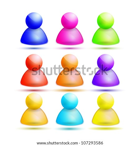 Vector glossy login icons. Nine colors - stock vector