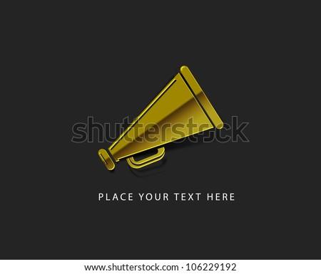 vector glossy megaphone web golden icon design element. - stock vector