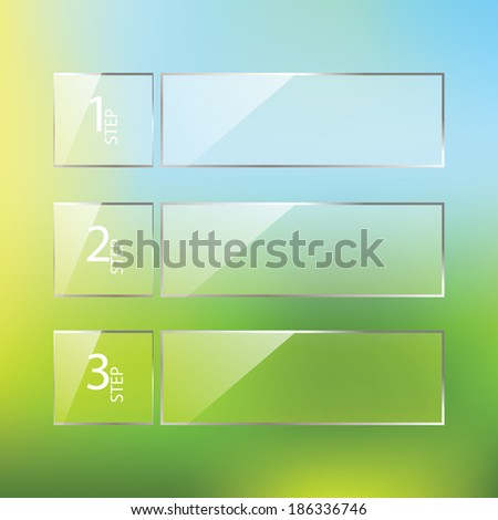 Vector glossy One Two Three steps, progress options banners with colorful tags. Vector illustration - stock vector