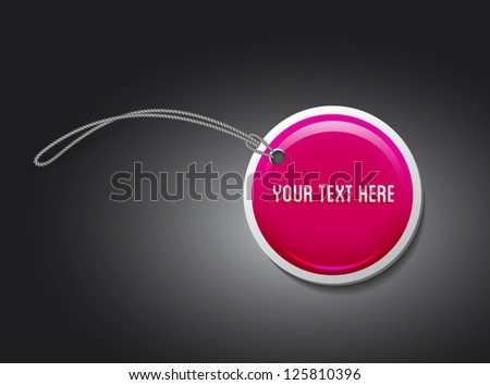 Vector glossy pink round plastic web tag / label - stock vector