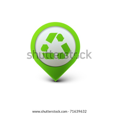 vector glossy recycle web icon design element. - stock vector
