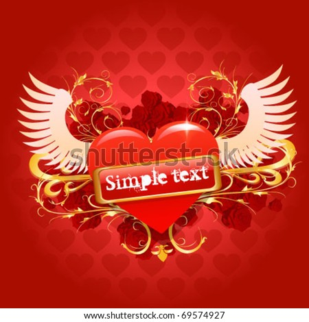 Vector glossy red hearth for valentin day illustration on red background - stock vector