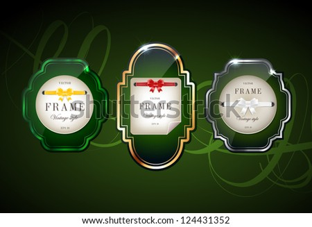 Vector glossy retro frames with metallic shiny borders, with note papers attached with silky ribbons tied in bow knots - dark green - stock vector