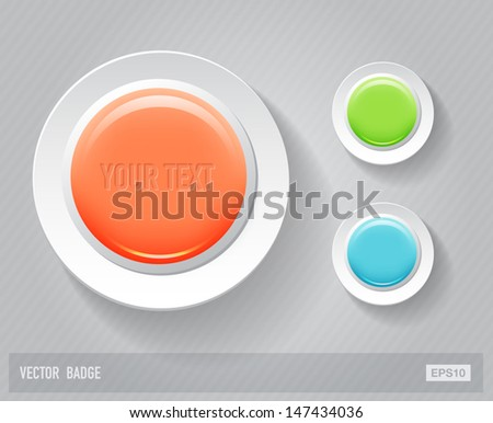 Vector glossy round plastic badges - stock vector