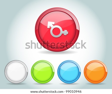 Vector Glossy Round Sexuality Icon/Button and multicolored - stock vector