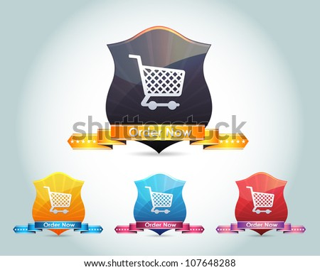 Vector Glossy Shield Shopping Basket - Order Now Button/Icon and multicolored