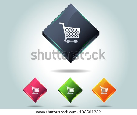 Vector Glossy Shop Basket Icon/Button and multicolored