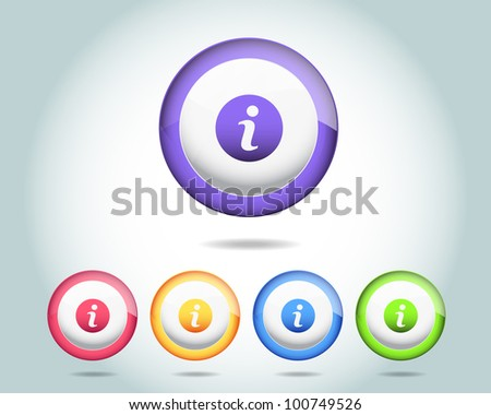 Vector Glossy Sphere Info Icon/Button and multicolored - stock vector