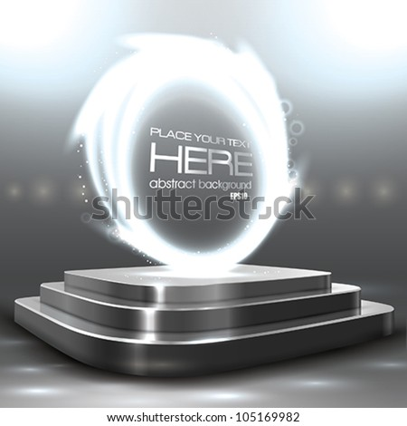 Vector Glossy Sphere on the Podium - stock vector