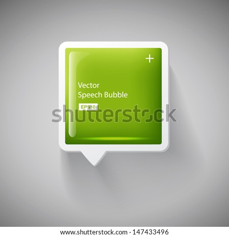 Vector glossy square green plastic speech bubble - stock vector
