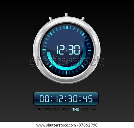 Vector glossy timer with  blue glowing digital numbers - stock vector