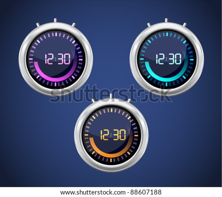 Vector glossy timer with various colors - stock vector