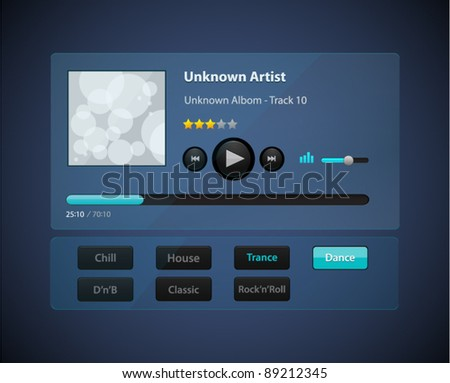 Vector glossy transparency audio player with control navigation panel - stock vector