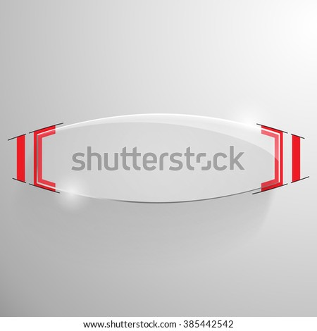 Vector glossy truncated ellipse banner with red line designe on the monochrome background. - stock vector
