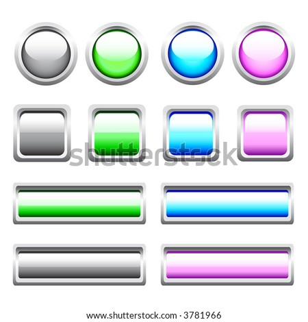 Vector Glossy Web Buttons. No transparency.