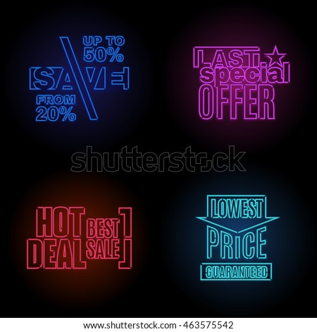 Vector glow neon modern template set of sale discount offer and quality product logo