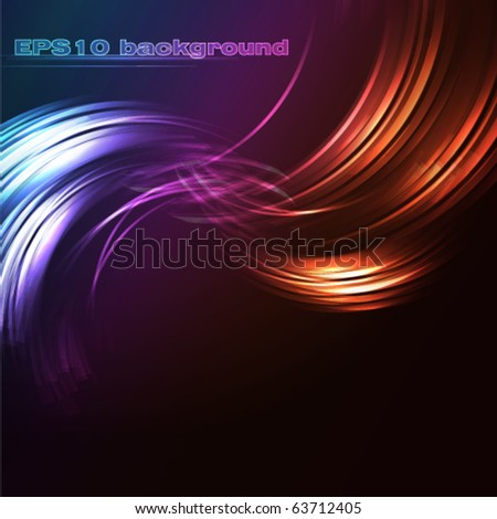 Vector glowing background, abstract compositions with moving  lines - stock vector