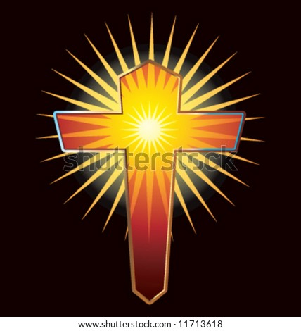 Vector glowing Christian cross