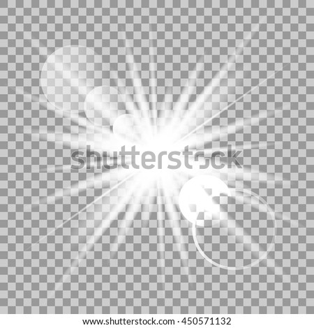 Vector glowing light effect on transparent background. - stock vector