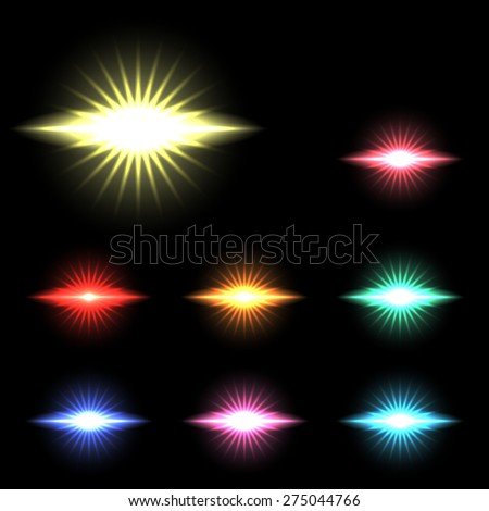 vector glowing lights, stars and sparkles  1 - stock vector