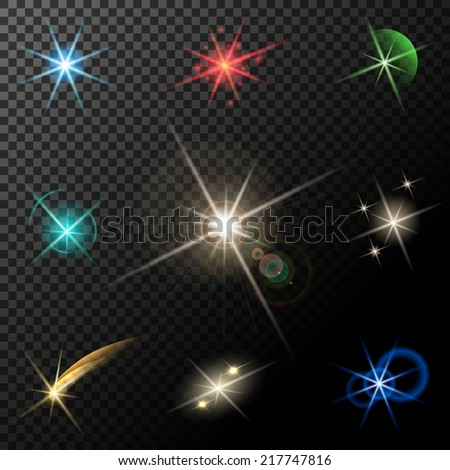 vector glowing lights, stars and sparkles on transparent background - stock vector
