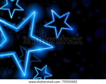 Vector - Glowing Neon Blue Stars Background - stock vector