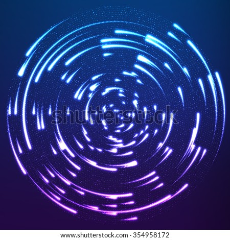 Vector glowing particles flying around the center leaving trails. Radar like violet background. Spinnig shining comets. Elegant modern geometric wallpaper. - stock vector