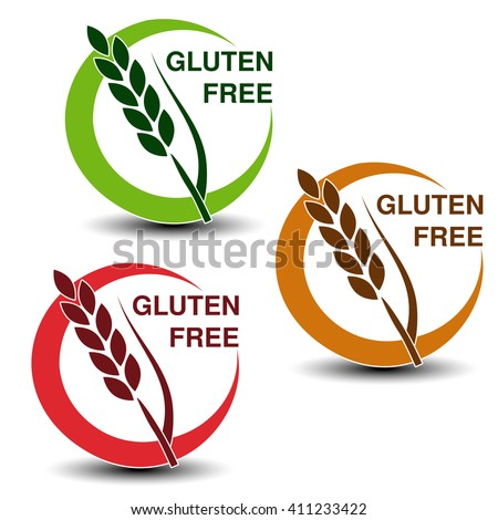 Vector gluten free symbols isolated on white background. Silhouettes spikelet in a circle with shadow.
