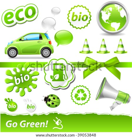 """vector """"go-green"""" set with biofuel icons - stock vector"""