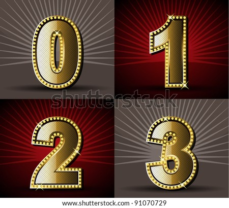 Vector Gold Alphabet With Diamond - stock vector