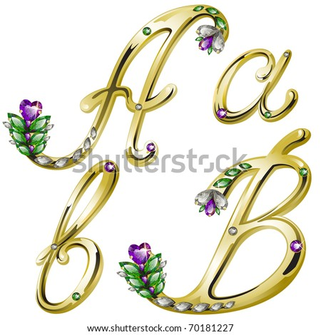 Vector gold alphabet with diamonds and gems letters A, B - stock vector
