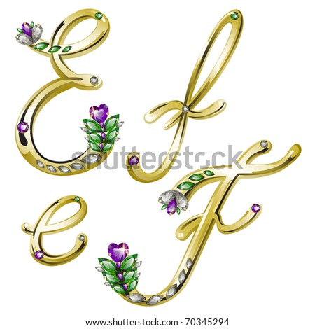 Vector gold alphabet with diamonds and gems letters E, F - stock vector