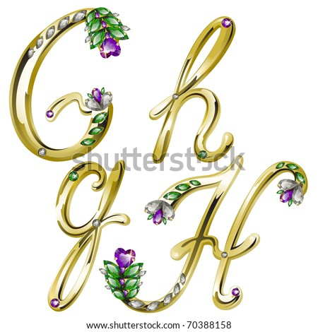 Vector gold alphabet with diamonds and gems letters G, H - stock vector