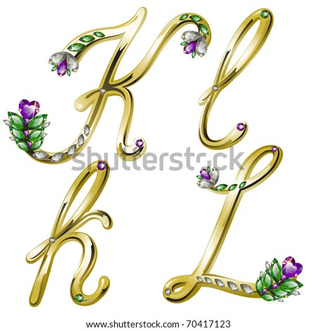 Vector gold alphabet with diamonds and gems letters K, L - stock vector